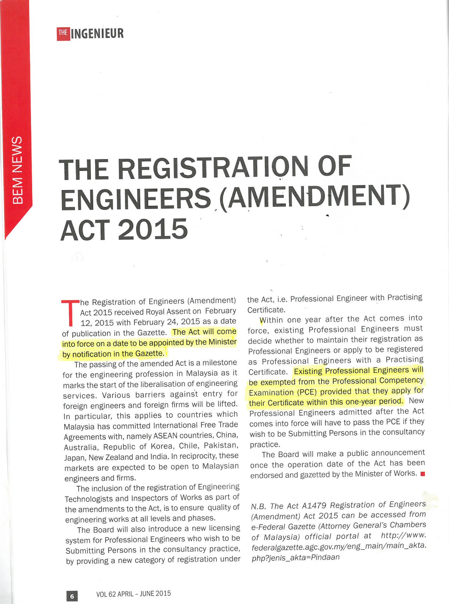 Registration of Engineers Act 2015